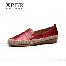 2017 XPER Genuine Leather Women loafers Shoes Hemp Round Head Women Shoes New Fisherman Shoes Girl #332(China)