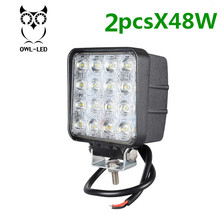 2pcs Wholesale 48W led work light lamp car 4x4 ATV LED working lights truck 12V Driving fog lights for tractor(China)