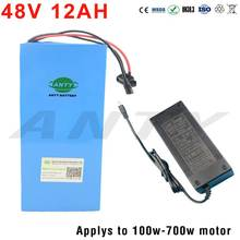 Electric Bicycle Battery 48V 12Ah Built-in 15A BMS Lithium Battery Pack 48V For E-Bike 100W-700W Motor Free shipping Duty