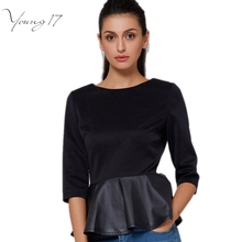 Young17 Autumn fashion T-shirt women casual PU Leather Patchwork Ruffle tshirt tops slim Women black Brand t shirt plus size