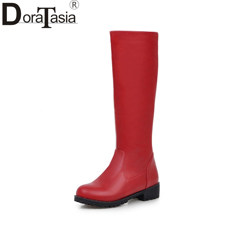 DoraTasia Slip On Knee High Riding Boots For Women Med Heels Winter Shoes With Velvet Fashion Brown Black Red Long Boots<br>