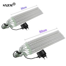 SXZM Waterproof 30cm or 50cm Led Meteor Shower Rain light 8 pcs tubes AC110V AC220V Wedding Xmas EU/US Falling Raindrop Lights