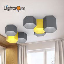 Simple modern living room bedroom office ceiling light Nordic LED Makaron geometric hexagonal ceiling lamp