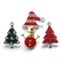 crystal rhinestone christmas tree 18mm metal Snap Button For Bracelet Watches women One Direction female DIY jewelry 010105