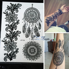 1PC Hot Dreamcatcher Large Indian Sun Flower Henna Temporary Tattoo Black Mehndi Feather Style Waterproof Tattoo Sticker PBJ013A