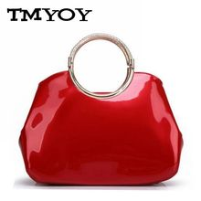 TMYOY 2017 Famous Brand Women Leather Handbags Patent Leather Elegant Bride Bag Evening Party Tote Bags Ladies Bolsa Bag WB003
