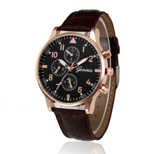 Fashion men watches Business complete Casual Watches Retro Design Leather Band Analog Alloy Quartz Wrist Watch chronometer(China)