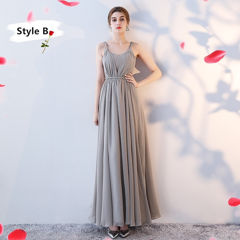 SOCCI Weekend Long Bridesmaid Dresses 2017 Sliver Sleeveless Sister Dress Grey Off shoulder Formal Wedding Party Gowns Robe de 6