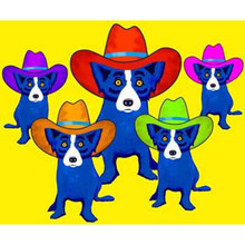 Yellow Canvas Cartoon Paintings Handpainted Abstract Animal Oil Painting Modern Home Decor Wall Art Funny Hat Blue Dogs Picture(China)