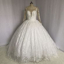 Buy real picture ball gown wedding dress sheer back puffy bridal dresses arabic wedding gowns 2018 wedding dress lace for $266.00 in AliExpress store