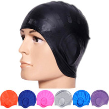 Adults Waterproof Swimming Caps Silicone Men Women High Elastic Solid Colors Ear Protection Swim Hat B2Cshop(China)