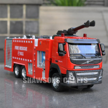 1:50 DIECAST METAL VOLVO FIRE ENGINE TRUCK MODEL TOYS PUMPER REPLICA SOUND & LIGHT