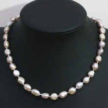 Special high quality natural purple freshwater pearl necklace 9-11mm irregular beads charms elegant jewelry B1432