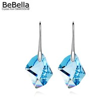 BeBella rhombic crystal drop pendant dangler earrings made with Austrian crystals from Swarovski elements for women fashion gift