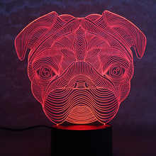 3D USB Visual Led Colorful Gradient Nightlight Table Lamp Creative Animal Dog Lampara Sleeping Lighting Decor Belldog Head Lamp
