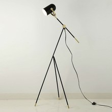 lamp tripod floor lamp tripot nightstand lamp Chinese industrial floor lamp black metal shade e27 bulb home decor lighting(China)