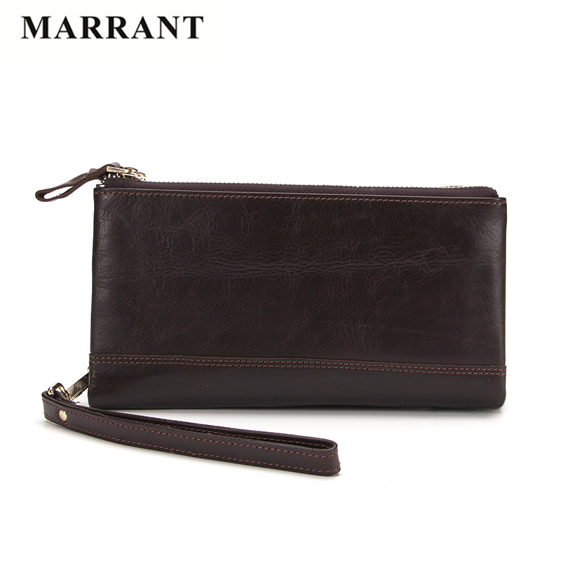 MARRANT Casual Double zipper Genuine Leather Men Clutch Wallets High Quality Nature Cowhide Leather Wallets Fashion Long Purse<br><br>Aliexpress