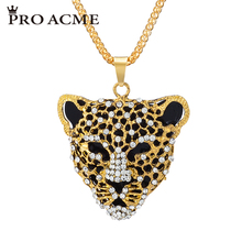 Pro Acme African Leopard Head Necklaces & Pendants for Women Elegant Crystal Long Sweater Chain Necklace Female Jewelry PN0590(China)