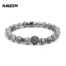 NADEEM Fashion Masculinas Natural Marble Stone Lion Head Bracelet Women Pulseras Hombre Bracciali Men's Elastic Bead Bracelet(China)
