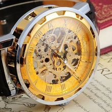 Vintage Luxury Relogio Skeleton Transparent Stainless Men Full Steel Watch Case Classic Gift Mechanical Hand Wind Watch(China)