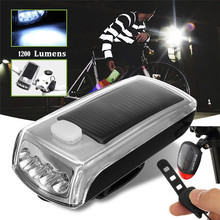 Bike Bicycle Solar USB Front Light 3Modes Waterproof 4 LED Solar Powered USB Rechargeable Front Light Tail Lamp Safety Light A1(China)