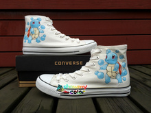 Pokemon Squirtle Converse All Star Custom Shoes Hand Painted Sneakers Children Christmas Gifts(China)