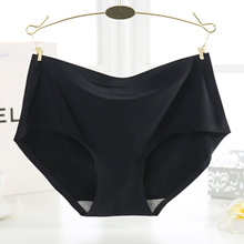 KJ241 M-4XL Women A Piece Of Ice Silk Underwear Knickers Female Mid Waist Seamless Big Size Panties Briefs Culotte Femme(China)
