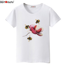 BGtomato Factory store hot sale flower shirt women top tees casual t shirt women cheap sale clothes cool t-shirt plus size(China)