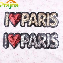 Large Sequin Patches Heart Paris Letter Patch Badge Iron On Patches For Clothes Stickers Back Patch Fabric Sewing Accessories(China)