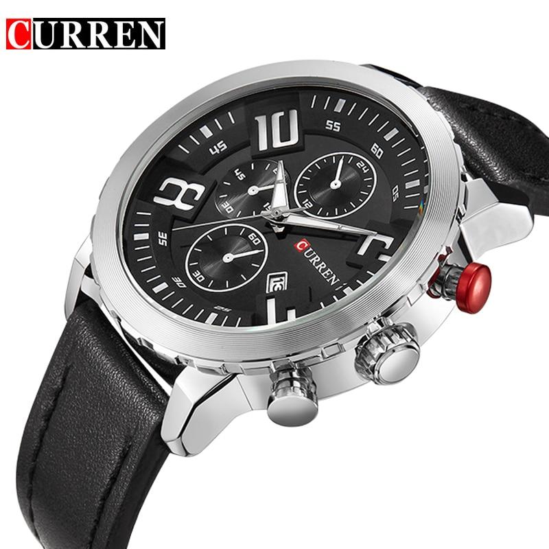 Curren Watches Men Top Brand Luxury Cow Leather Strap Quartz-Watches Sport Mens Watches Waterproof Relogio Heren Hodinky 8193<br><br>Aliexpress