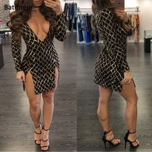 Batoneur Party Wear Dresses Nightclub paillettes dresses Long sleeve sequin dress Sexy Bodycon Gold Plaid High Neck Dresses(China)