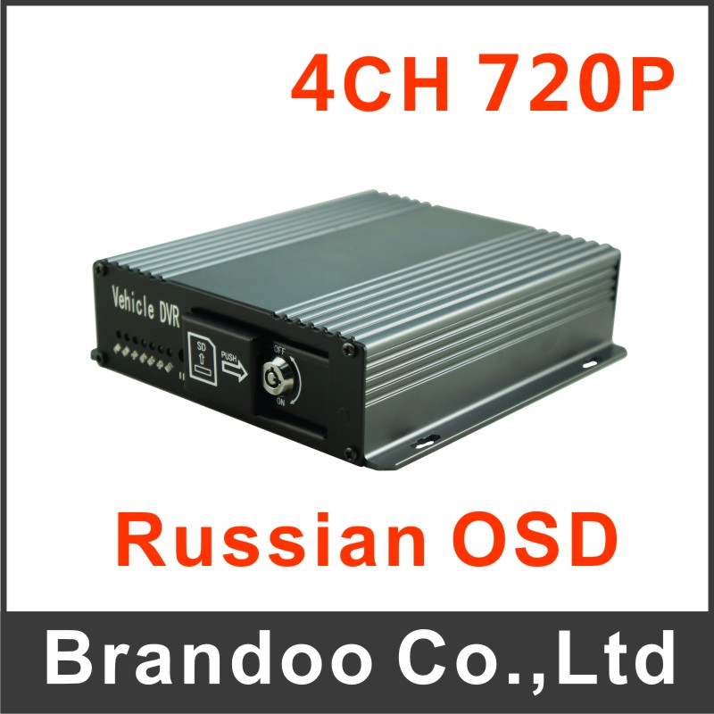 Russian OSD 4CH 720P HD CAR DVR, works with AHD cameras, 4 alarm input<br><br>Aliexpress