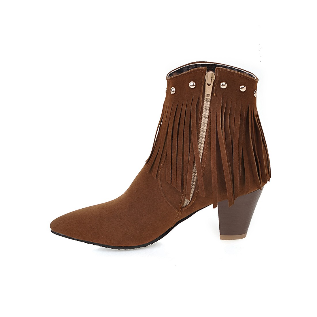 New casual ankle Boots thick high heels boots woman poined toe Women's tassel Boot ladies shoes large size 34-43