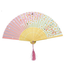 New Japan Dance Fan Pink and Green Cherry Blossom Pattern Lace Bamboo Handheld Folding Fans Hot Event Party Supplies