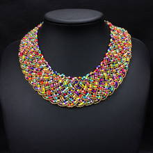 Brand Design Mix Color Small Beads Hand Knitting Choker Necklace Fashionable Ethnic Necklaces False Collar For Women
