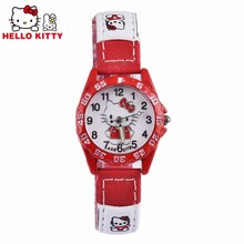 Children Hello Kitty watch Quartz Wristwatch 2017 Pink&red&rose Red Hellokitty Clock 3 colors Leather Strap montre enfant(China)