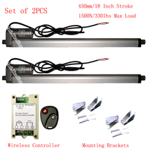 "A Pair of 2PCS 450mm 18"" Stroke 330lbs Heavy Duty DC12V Linear Actuators &Brackets &Wireless Remote Controller Kits for Car Boat"