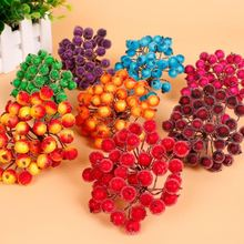 2016Hot New Artificial Flower Stamen Pip Berry Stems Red 1.2*1cm 20 Pcs 40 Heads For Thanksgiving Home Decoration