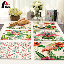 42X32CM Table Napkins Flamingo Printing Dinner Table Napkins Tea Coffee Towel Restaurant Plates Decor Reusable Placemat(China)