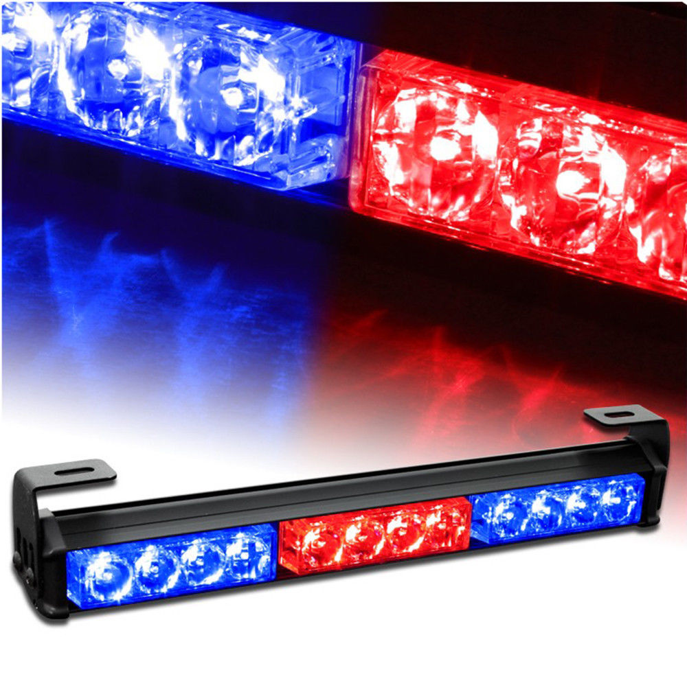 14 12 LED Light Emergency Warning Strobe Flashing Bar Hazard Lamp Red Blue 12V<br>