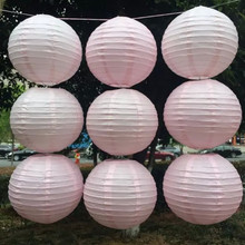 10/15/20/25/30/35/40cm Light Pink Chinese Round Paper Lanterns for Wedding Event Party Decoration Holiday Supplies Paper Ball