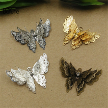 BoYuTe 10Pcs 25*35MM Brass Filigree Butterfly Charms 6 Colors Plated Diy Etched Sheet Pendant Charms for Jewelry Making