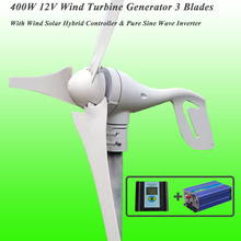 400W 12V 3 Blades Wind Turbine + Wind Solar Hybrid Controller + 1KW Off Grid Inverter Wind Generator Kits(China)