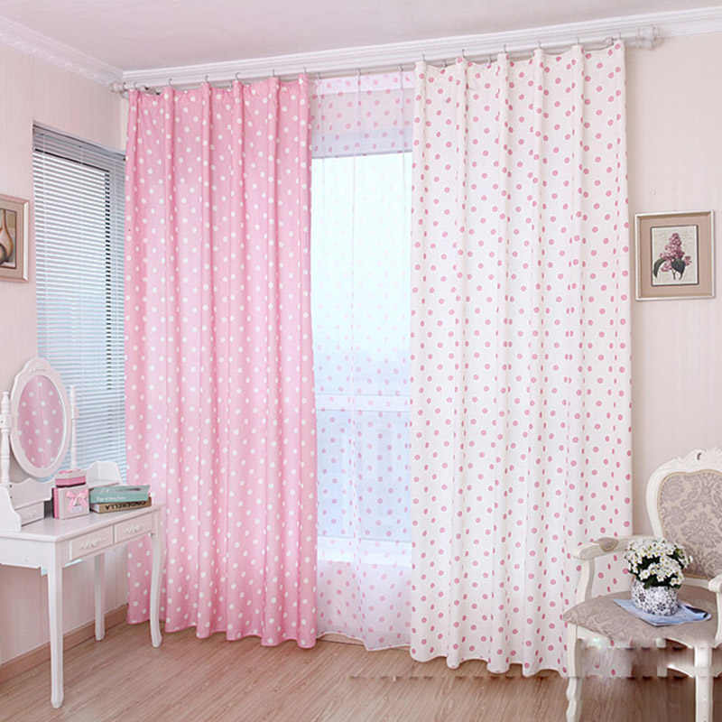 Pink Cartoon Wave Point Half Blackout Curtains For Living Room Children Room Boy /Girl Dapes Blinds Baby Room cortinas wp122&3