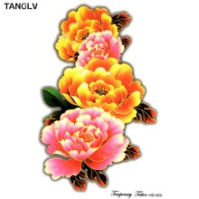 21*15cm 3D rose yellow flowers arm shoulder tattoo Indian Arabic Fake temporary tattoos stickers waterproof women hot summer