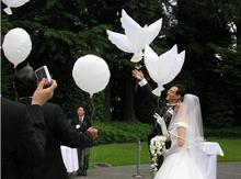 20pcs/lot Flying White Dove Foil  Air Balloon Wedding Party Decorations Supplies Inflatable Toys