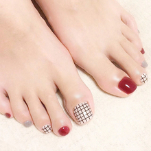 Popular 24pcs Toe False Nails Grids Style Full Cover Solid Wine Red Milk Nail Tips New Nail Art Designer Decor with Glue Sticker(China)