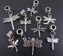 2014 Freeshipping Metal Sale Crafts And Scrapbooking Beads Tibetan Silver Mix Dragonfly Dangle Charms Fit Charm Bracelet (3101)