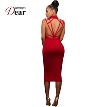 Buy Comeondear Red Dress Robe De Soiree Courte Womens Clothing Dresses Bodycon Midi Dress RB80480 Strappy Backless Dress Stretch for $14.81 in AliExpress store