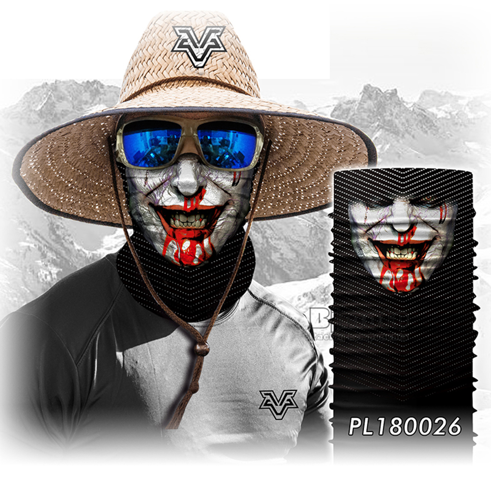 Magic Seamless Scarf Skull Ski Cycling Headwears Headband Motorcycle Neck Bandana 3D Vampire Human Face Bandana Scarf (10)